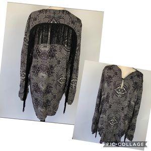 ASOS black white fringe tunic dress large